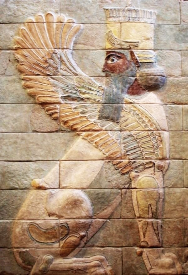 A ceramic winged sphinx in king Darius's palace in Susa