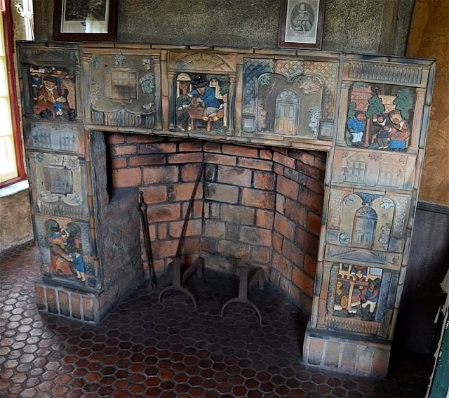 A tiled stove by Moravian Pottery