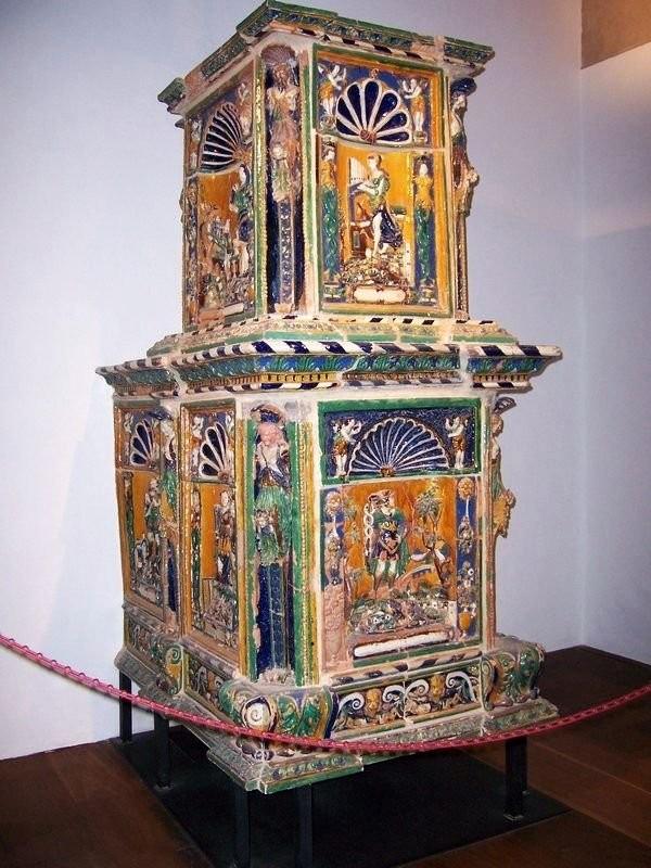 Antique ceramic tiled stove in Hohensalzburg fortress, 1502