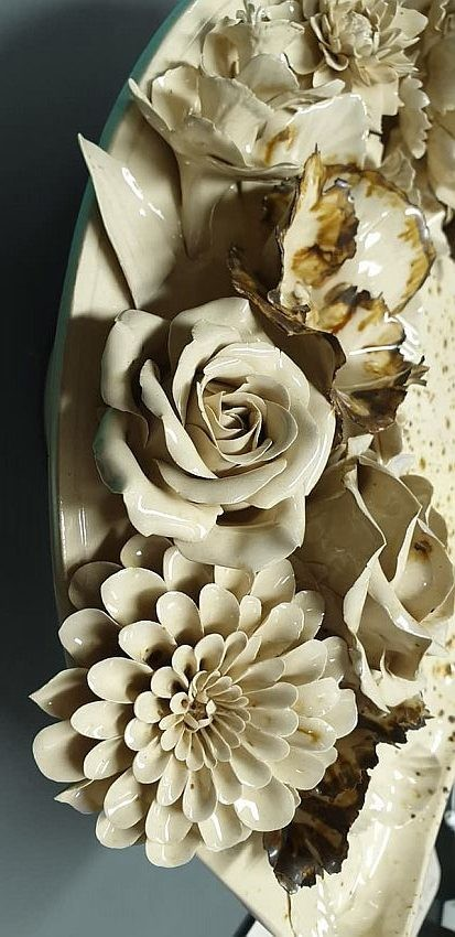 Relief ceramic mural with porcelain Garden Bouquet for stove or fireplace