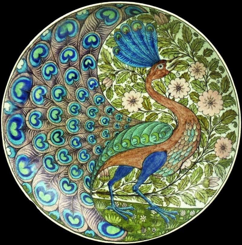 De Morgan's dish with peacock decor Arts and Crafts