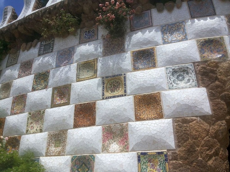 The walls of the main staircase in Park Guell, clad in trencadis technique