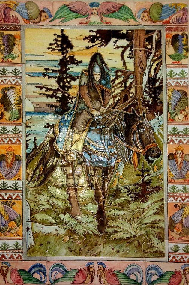 Black Rider ceramic mural on wall