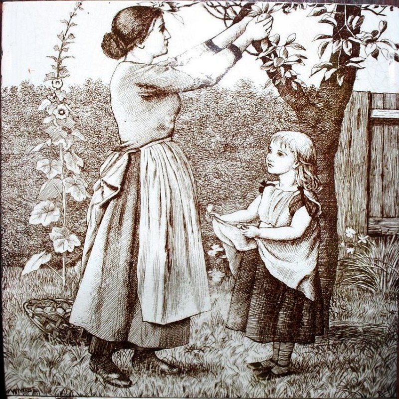 A Minton manufacture tile, Country Life. 1889