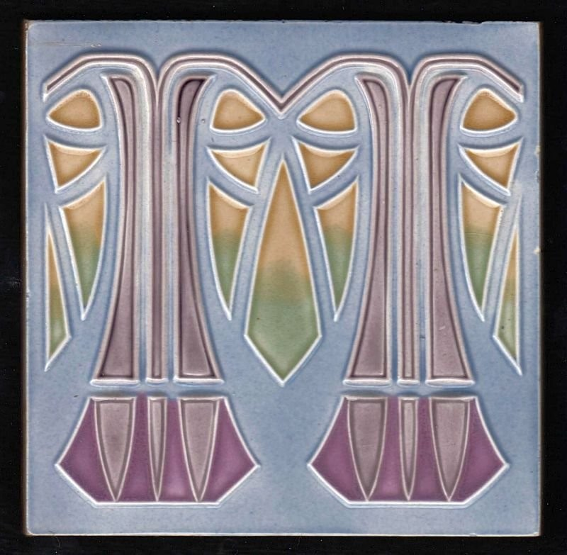 An Art Nouveau tile made by Meißner Ofen und Porzellanfabrik. 1900