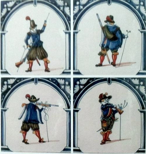 Dutch tiles with soldiers and horsemen. 1560-1648