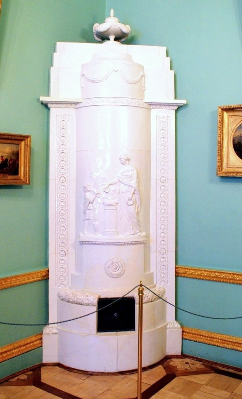 White faience furnace in lady's maid's room. Catherine Palace