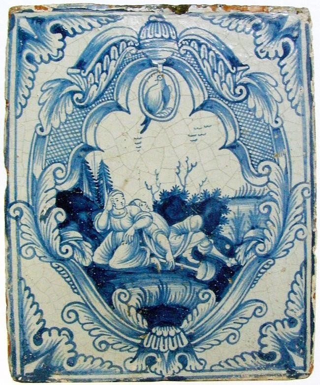 Stove tile with white and blue painting. Second third of 18th century. Moscow