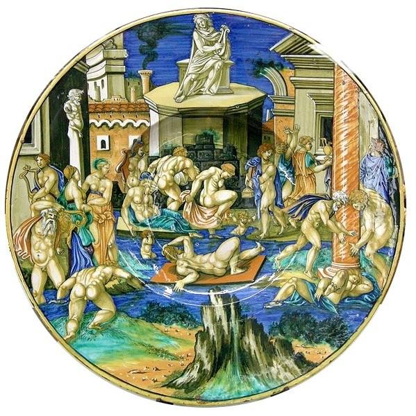 FXAR, a dish illustrating Tiber flood. 1531, Sforza Castle