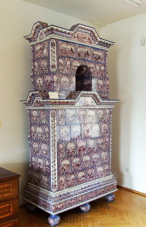 Antique ceramic stove of the 17th century in Elblag museum