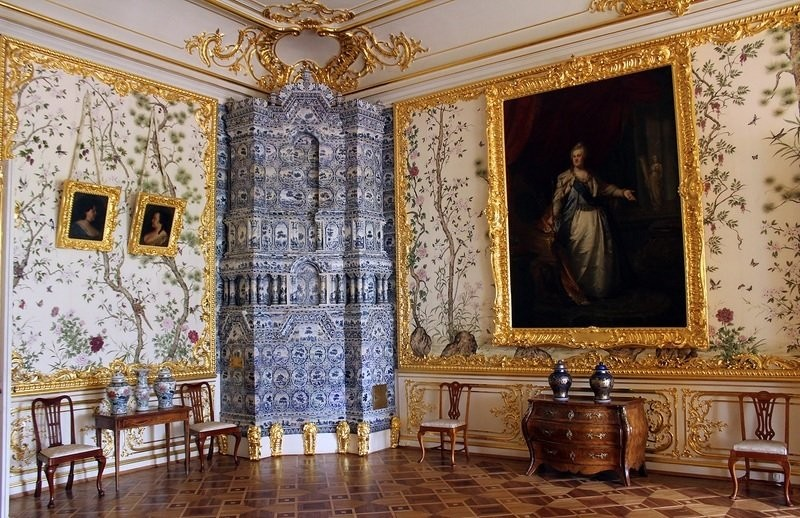 Tiled stoves in Chinese guestroom of Alexander the Great. Catherine Palace. St. Petersburg