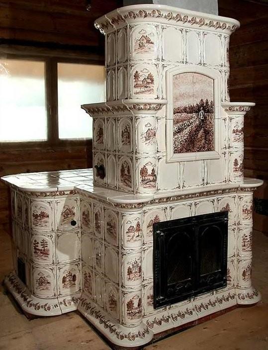 A ceramic stove made by Alexander Chernyshev's company
