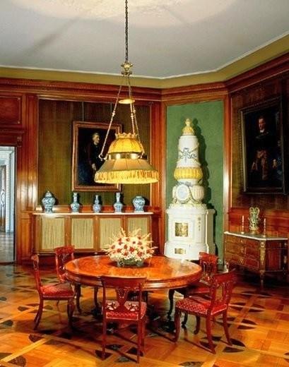 Classicism style ceramic stove in Lancut Castle
