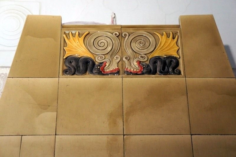 Dragon tiled stove of Abo enterprise in the building of the Estonian Lutheran Church of St. John