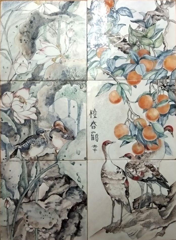 Chinoiserie ceramic murals Seasons