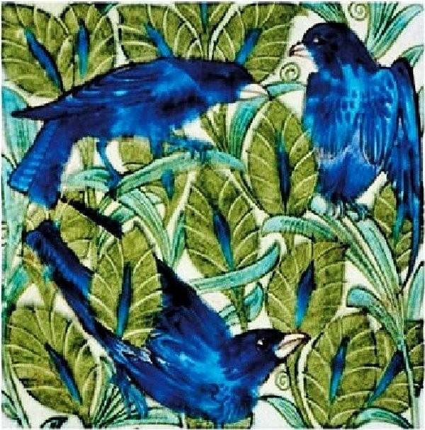 Tiles with birds. William de Morgan Arts and Crafts