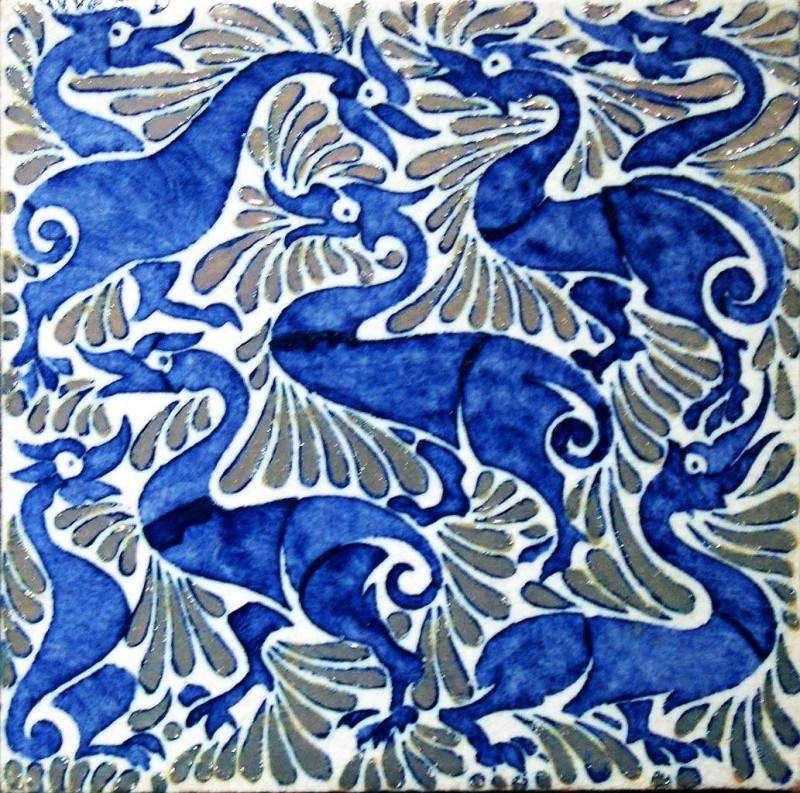 Abstract ducks with De Morgan's lustreware effect