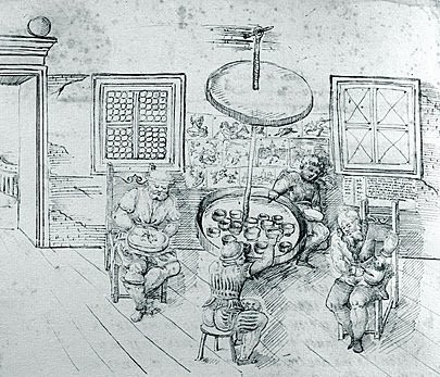 Illustration of a machine and table for ceramic