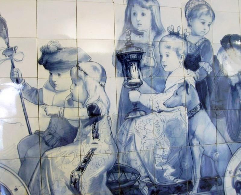 A ceramic mural. Delftware