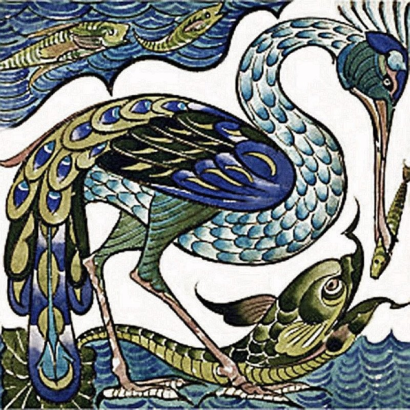 A tile with a heron. de Morgan