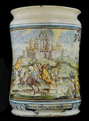 A big albarello vase with baptism of St. Paul, Francesco Antonio Grue