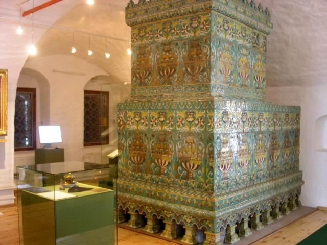 Tiled stoves of 17th century. Novodevichy monastery in Moscow.