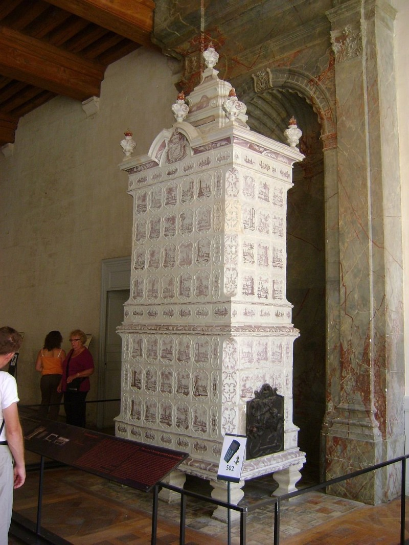 Meissen antique tiled stoves in Château de Chambord, France