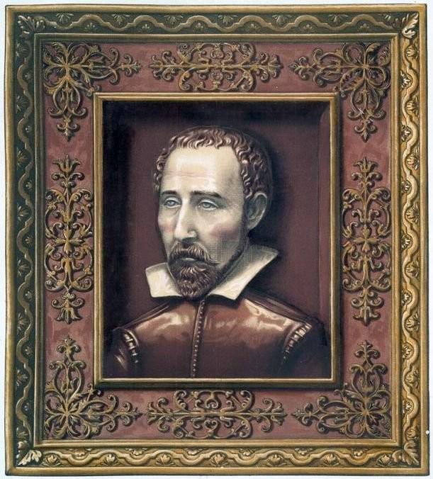 Palissy's portrait on faience. Bernard Palissy