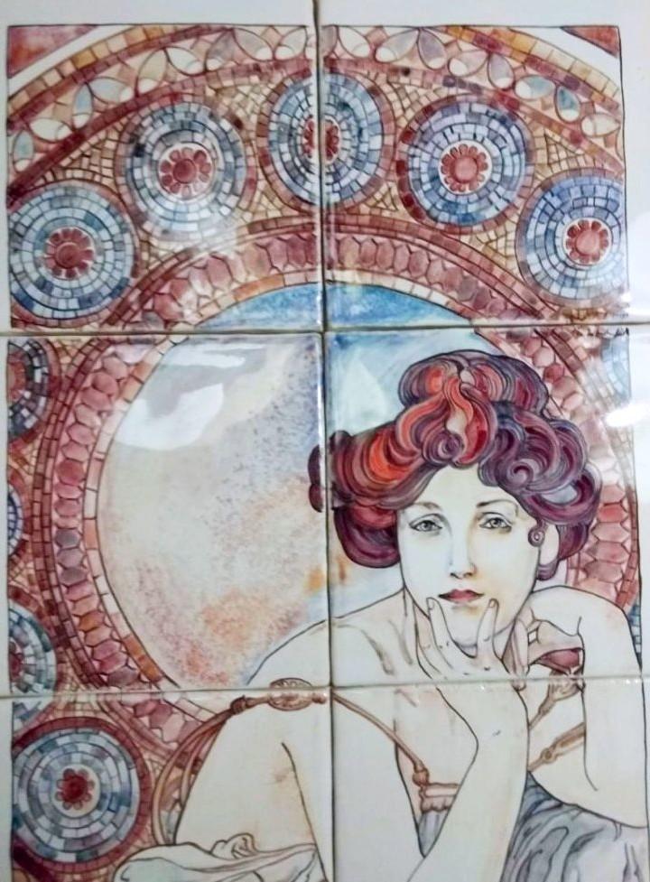 Handmade ceramic murals based on Alphonse Mucha's