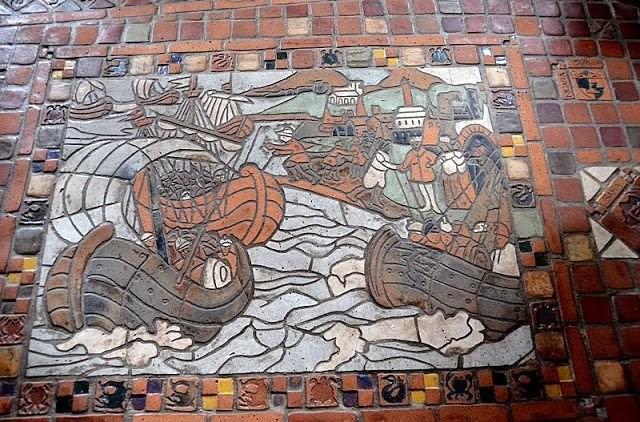 Tiled floor in Moravian Pottery museum