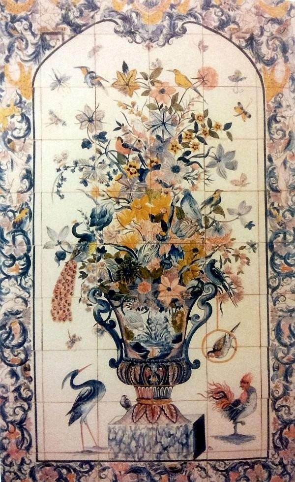 A flower pot mural for a fireplace. Delft, 1720