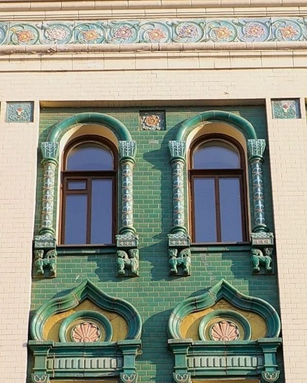 Miansarova's tenement house (1908-1912, S.K. Rodionov) Architectural ceramics of Moscow Art Nouveau