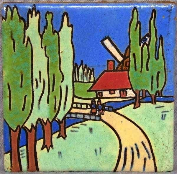 A tile by Empire Tile Company US art ceramic tiles of the early XX century