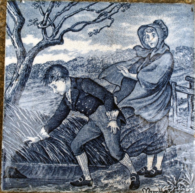 A tile from a ceramic tile series depicting the life of young women from January to August. Helen Miles, Wedgwood