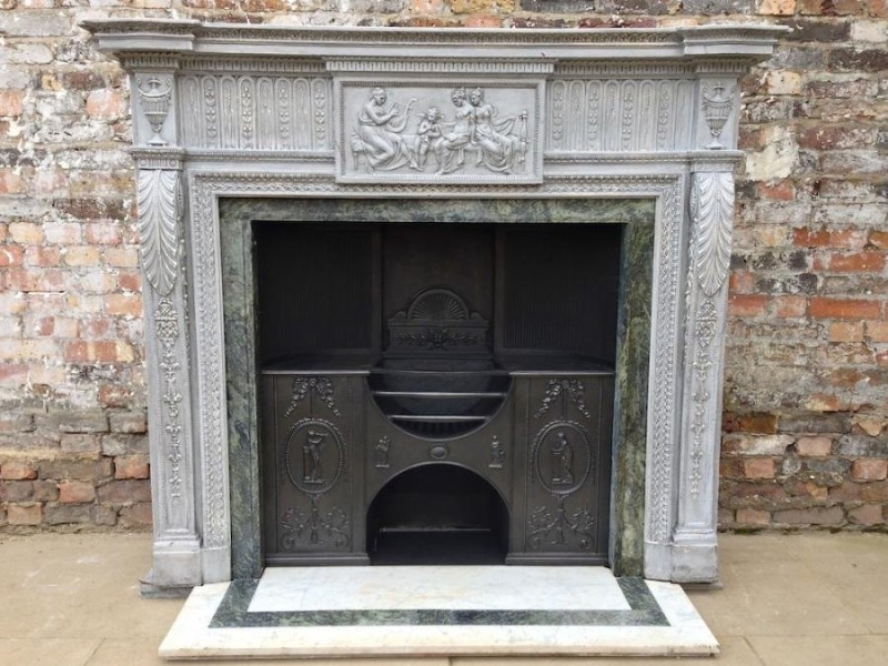 Georgian english fireplace with cast iron registers and stone portal