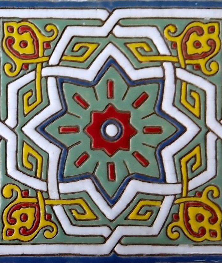 Arabesque relief tiles