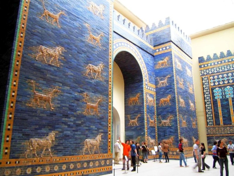 A reconstruction of Ishtar Gate in Pergamon Museum in Berlin. Ceramics of Babylon