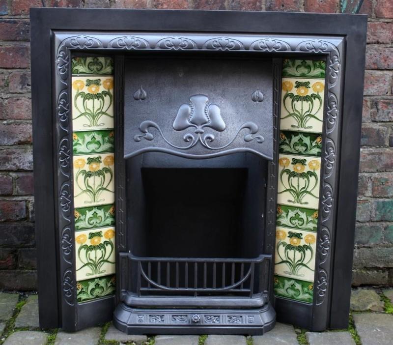 Edwardian Art Nouveau english fireplace