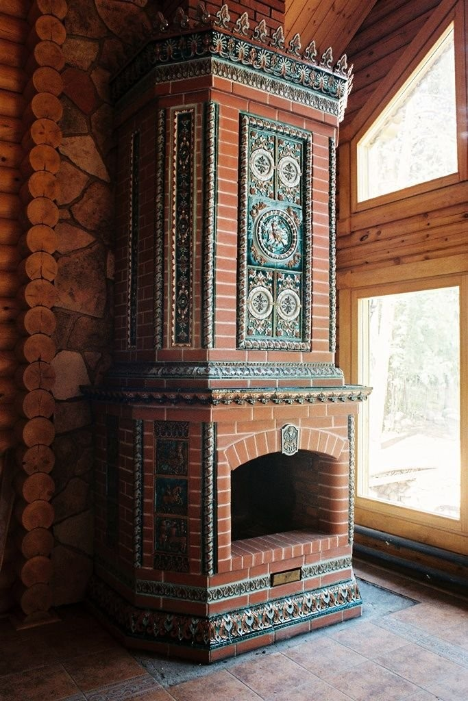 A stove with tiles in Neorussian style. Made by Sergei Lyebedev's workshop