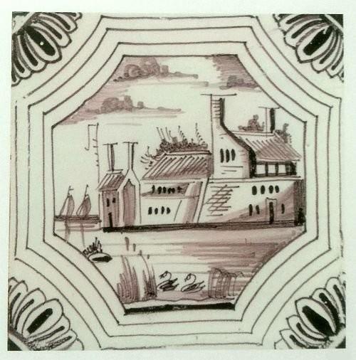 A tile with landscape imagery. Manganese glaze. 1692