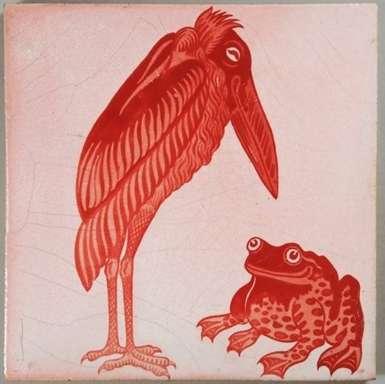 De Morgan's tile with a heron and a frog Arts and Crafts