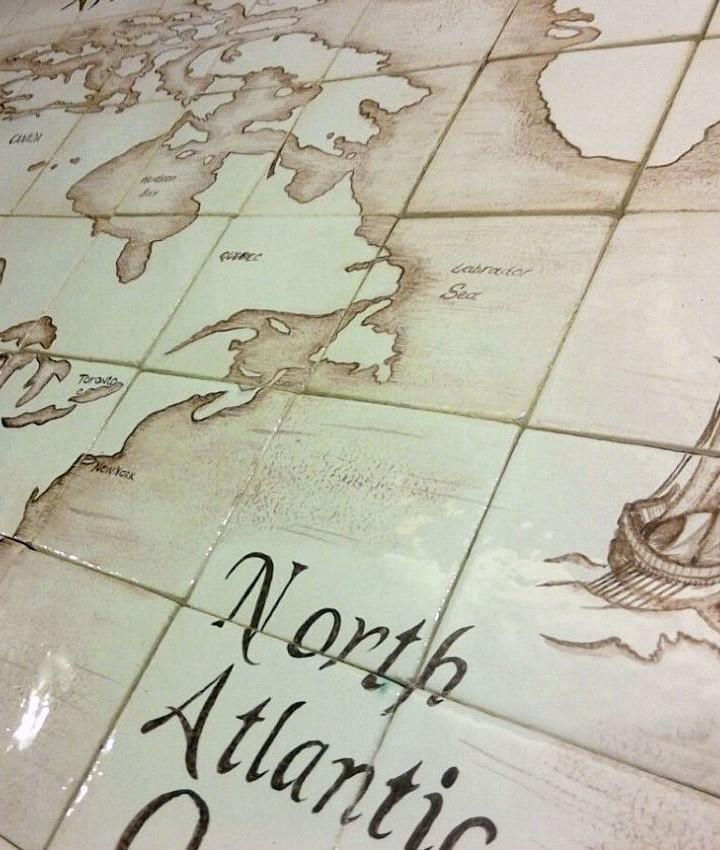 Ceramic wall mural Vintage World Map
