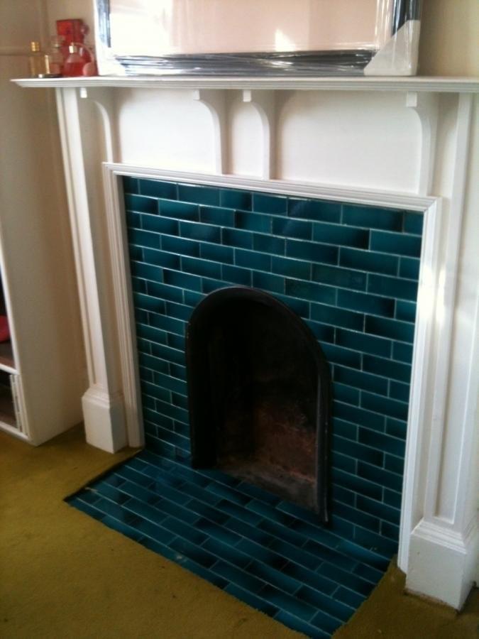 An Edwardian Arts & Crafts english fireplace. 1920