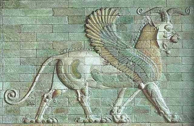 A ceramic gryphon. Relief in a Palace in Susa