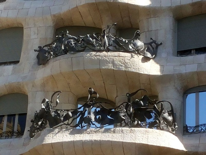 Forged balcony railings of Casa Milа