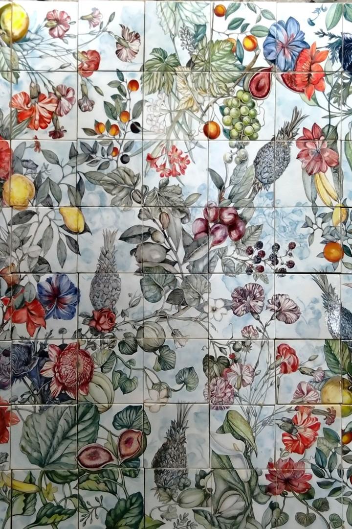 Handmade ceramic mural Botanica with tropical flowers and fruits