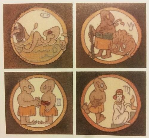A zodiac sign tile series made by Flint Faience