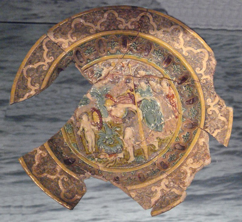 Polychromic dish in Palissy's style. Mid-16th century, London