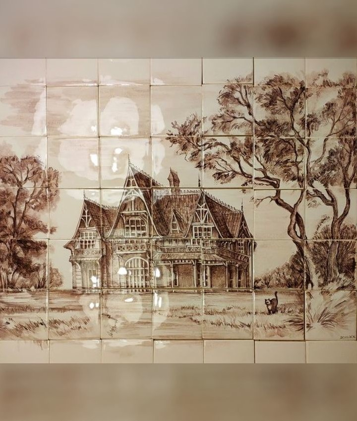 Artistic Ceramic Murals for the kitchen backsplash featuring a landscape with a chalet in the French Art Nouveau style in ocher brown tones