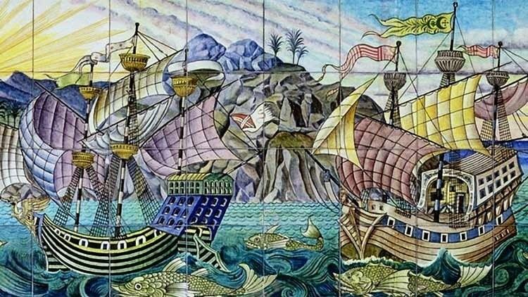 A galleon mural. De Morgan Arts and Crafts